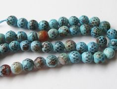 Agate Beads  Blue Brown Faceted Beads  Round Agate by BijiBijoux