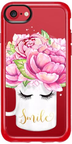 Casetify iPhone 7 Classic Grip Case - Smile Mug Close Eyes Eyebrows Summer Floral Fashion Case Spring Flowers Pink Watercolor Peonies by Karamfila Siderova