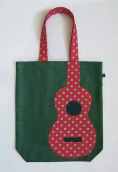 Green uke tote bag with pink appliqué polka dot uke 25 via etsy Fabric Crafts, Sewing Crafts, Sewing Projects, Patchwork Bags, Quilted Bag, Sacs Tote Bags, Reusable Tote Bags, Denim Bag, Fabric Bags
