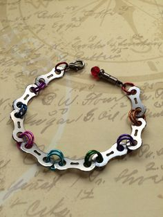 Recycled+Bicycle+Chain+Bicycle+Bracelet+Red+by+TrailGlassTreasures