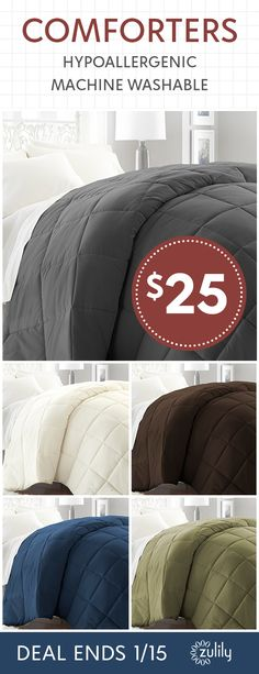 Sign up to shop down-alternative comforters under $25. Spruce up the master or guest bedroom with classic comforters featuring all-season designs for yearlong use. Don't miss out! Save on cozy bedding for the whole family. This deal ends 1/15/18.