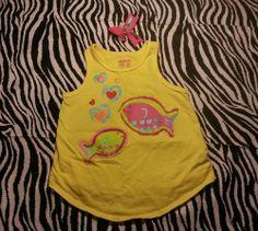 ~ Garanimals Toddler Girl Yellow Fish Tank Top Shirt + Hair Bow ~Size 3T ~EUC