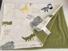 Little Miracles White Green Baby Blanket Abc Letters Zebra Giraffe Elephant Zoo #littlemiracles