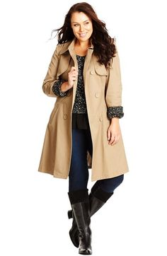 City+Chic+'Caramel+Kisses'+Trench+Coat+(Plus+Size)+available+at+#Nordstrom