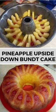 PINEAPPLE UPSIDE-DOWN BUNDT CAKE I love bundt cakes because they are so easy to serve. I found this … It comes out great and it will be the easiest pineapple upside down cake you'll ev… Sweet Recipes, Cake Recipes, Dessert Recipes, Simple Recipes, Food Cakes, Snacks Sains, Bunt Cakes, Köstliche Desserts, Plated Desserts