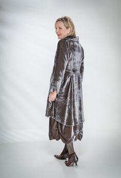 Long Scoop Jacket £395 over Tasman Dress £345 both silk velvet (Teal).