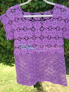 Pretta Crochet: Blusa de Crochet motif e filet (feita com discreto aumento na região do quadril)