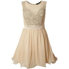 Little Mistress Fit and Flare applique detail ($42) ❤ liked on Polyvore featuring dresses, vestidos, short dresses, robes, cream, little mistress dresses, cream cocktail dress, cream dress and beige short dress