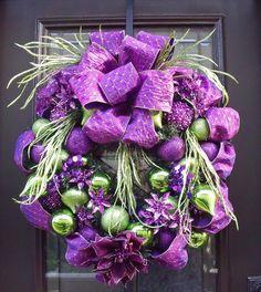purple and green wreath