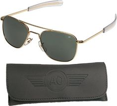 0f1eda4e37 American Optical Pilot Aviator Sunglasses 55 mm Gold Bayonet True Color Gray  Glass Lenses 30185