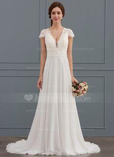 A-Linie Princess-Linie V-Ausschnitt Sweep Pinsel zug Chiffon Brautkleid mit  Rüschen (002134554). Bohemian Wedding DressesWedding Dress AccessoriesBridal  ... 673c0ae5318f