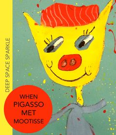 When Pigasso Met Mootisse art lesson for third grade. Create a mix-media Pig-Picasso style