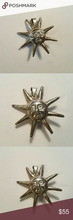 Vintage Mexican Sterling Sun Pendant Was my grandmother's! Marked Mexico 925. Gorgeous. 2 inches high. Vintage Jewelry Necklaces