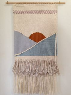 Handmade wall hanging wall weaving piscine by SecretCeremonyShop