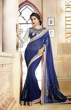 Designer Georgette sarees collection is really an amazing outfit with a lot of variety color and supple stuff. It's give a nice look to women personality. Designer Sarees Collection, Latest Designer Sarees, Latest Sarees, Saree Collection, Satin Saree, Chiffon Saree, Georgette Sarees, Party Wear Sarees, Saree Wedding