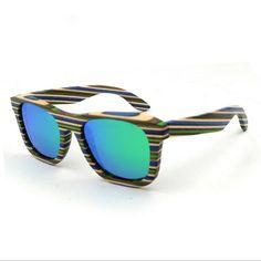 New Men Women Retro wood frame Sunglasses Polarized Gafas Handmade Eyewear  Eyeglasses Colorful Reflective lens 69a9c24fd3
