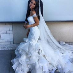 Glamorous 2016 Fashion Mermaid Wedding Dresses Tiered Skirts Off the Shoulder Sexy Bridal Gowns Lace Ruffles Pearls Wedding Dress BA0806