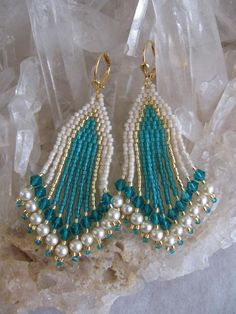 Seed Bead Beadwoven Swarovski Earrings  Zircon/Teal by pattimacs, $24.00
