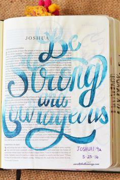 Joshua 1:9, May 25, 2016, carol@belleauway.com, watercolor, bible art journaling, bible journaling, illustrated faith