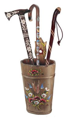 HANDPAINTED FLORAL WOOD UMBRELLA STAND