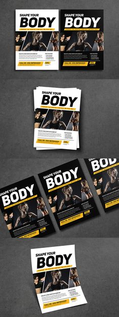 Clean and Professional Fitness Flyer Template AI, PSD