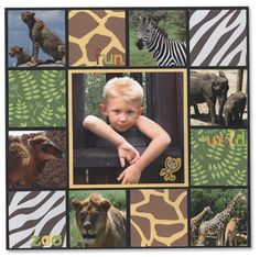 I like the center picture larger as the focus and the related pics and prints framing it. Great for all the zoo pictures. Scrapbook Da Disney, Scrapbook Bebe, Vacation Scrapbook, Scrapbook Sketches, Scrapbook Page Layouts, Scrapbook Paper Crafts, Scrapbook Cards, Travel Scrapbook Pages, School Scrapbook
