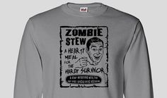 Funny Zombie Stew Long Sleeve T-shirt, Funny Post Apololypic Undead Walking Dead Biters Zombie Halloween Gift Idea