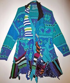 #Reconstructed sweater coat, #Plus size in cotton Turquoise blue by monapaints, $295.00