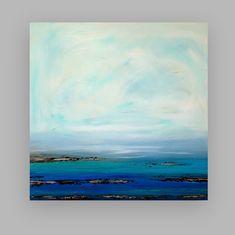 "Painting Acrylic Abstract Art on Canvas Coastal Shabby Chic Titled: Twilight 40x40x1.5"" by Ora Birenbaum"