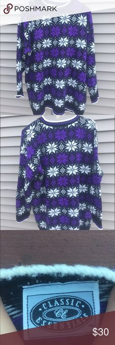 ✨30% off all bundles✨ Purple Patterned Vtg Sweater The perfect comfy winter sweater. No size tag but like a unisex m/l. Awesome purple snowflake pattern!  #snowflake #knit #winter #uglysweater #winter #fall #wintersweater #cozy #medium #large #purple #white #purpleandwhite #classic #vintage #vtg #oversize #oversized #sweaters #oversizedsweaters #blackandpurple #black Sweaters