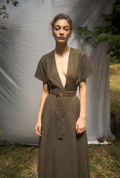 Gnana Studio summer wrapped dress cut in up-cycled Bamboo and LInen melange Frill Shirt, Summer Lookbook, Kimono Dress, Dress Cuts, Sustainable Fashion, Wrap Dress, Feminine, Summer Dresses, Elegant