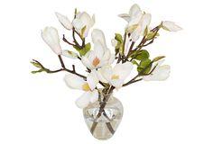 "14"" Magnolias In Glass Vase, White   One Kings Lane"