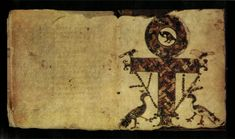 A Crux Ansata as a symbol of the Egyptian Anx and resurrection in Codex Glazier a Coptic manuscript New Testament 400 AC