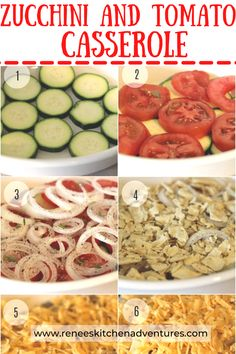 Zucchini and Tomato Casserole by Renee's Kitchen Adventures is a taste of summer! Fresh zucchini squash, fresh tomatoes, sweet onions, crackers, and cheese complete this excellent side dish recipe or main dish meatless vegetarian recipe. Perfect way to enjoy the summer's harvest of fresh vegetables from your garden! Casserole, Zucchini, Cereal, Breakfast, Food, Morning Coffee, Essen, Casseroles, Meals