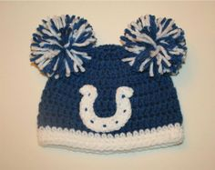 a4692dfc5a1 Crocheted Indianapolis Colts Hat by TinyTippyToppers on Etsy