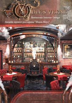 Jules Verne Restaurant Interior design by Vladimir Piskariov #Steampunk #Style #JulesVerne #Restaurant Steampunk Bar, Steampunk Interior, Steampunk Images, Steampunk Furniture, Steampunk House, Steampunk Design, Steampunk Coffee, Steampunk Emporium, Diy Interior