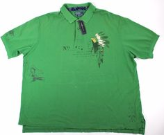 NWT $125 Ralph Lauren 3XB Polo Green Indian Head Chief Repaired Polo Shirt  #RALPHLAUREN #PoloRugby