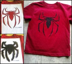Sticker paper. printer. spider image. fabric paint. t-shirt. Spider t-shirt for my little spider-man.