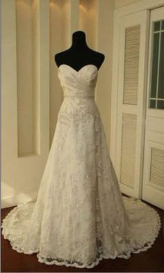 Custom make A LINE Lace Wedding Dress Bridal Gown by kissbridal, $228.00, Perfect in every way and the price is amazing!
