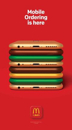McDonalds: Mobile Ordering is here .- McDonalds: Mobile Ordering is here McDonalds: Mobile Ordering is here - Creative Advertising, Ads Creative, Creative Posters, Advertising Poster, Marketing And Advertising, Mobile Advertising, Business Marketing, Visual Advertising, School Advertising
