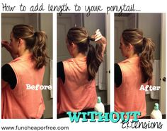 How to add length to ponytails.WITHOUT extensions The Fun Cheap or Free Queen: How to add length to ponytails.WITHOUT extensions. Fuller Ponytail, Double Ponytail, Hair Ponytail, Cut My Hair, Her Hair, Hair Cuts, Two Ponytails, Up Hairstyles, Hairdos