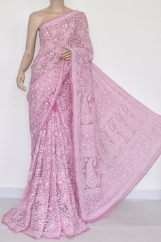 Light Onion Allover Hand Embroidered Lucknowi Chikankari Saree (With Blouse - Georgette) 14439