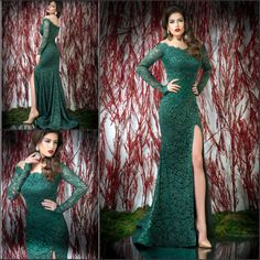 Find More Evening Dresses Information about Designer Off shoulder Emerald Green Long Sleeve Lace Mermaid Evening dress Vestido Chinese Corset Formal Party Gowns Elegant,High Quality dress bird,China dress tutus Suppliers, Cheap gown red from Dreamyfashion on Aliexpress.com
