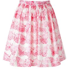 RED VALENTINO Cotton Butterfly Print Full Skirt (4.010 ARS) ❤ liked on Polyvore featuring skirts, bottoms, faldas, butterfly skirt, full skirt, pink skirt, butterfly print skirt and floral print a-line skirt