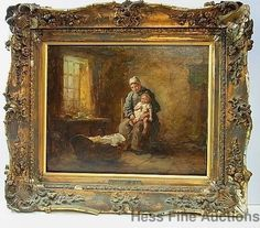 Orig Josef Israels Oil Painting Mother Child Dutch Interior Old London Info cnx
