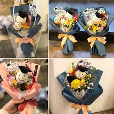A kindergarten daycare school graduation # boss mother puff bouquet. ☆ Product booking ° … - New Deko Sites Graduation Flowers Bouquet, Felt Flower Bouquet, Gift Bouquet, Candy Bouquet, Graduation Crafts, How To Wrap Flowers, How To Preserve Flowers, Daycare School, Party Favors