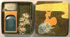 Inlaid Maki'e Inkstone Box  with Black Pine Tree and Deer Design  by Nagata Yuji  Kyoto National Museum