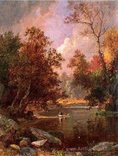 Jasper Francis Cropsey's oil painting Autumn River Landscape