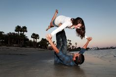 <3 our favorite picture from our engagement photo shoot at paradise point in San Diego! beach airplane! #beach #airplane #engagement