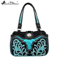 Black & Turquoise -  Western Longhorn Montana West Handbag Purse